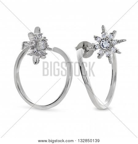 The Two Original Silver Earrings Studs Of Star-shaped With Diamonds