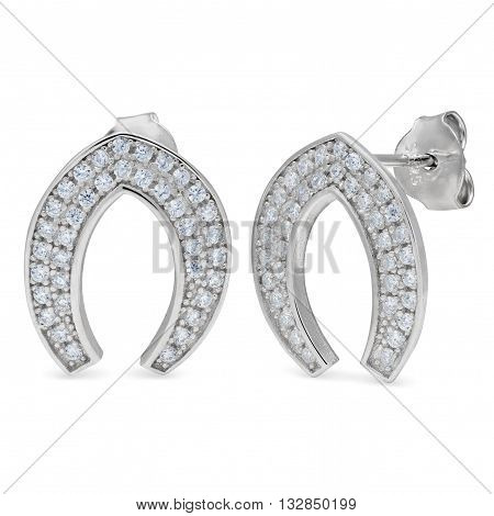 A Pair Silver Stud Earrings With Diamonds In The Shape Of A Horseshoe