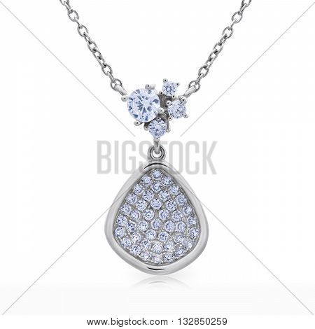 Close-up Pendant With A Diamonds On A Chain