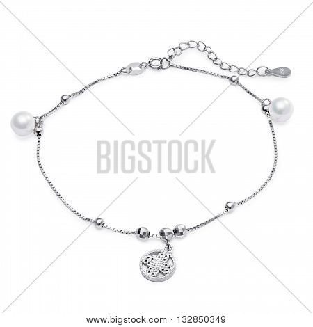 Elegant Silver Bracelet With Pearls On A White Background