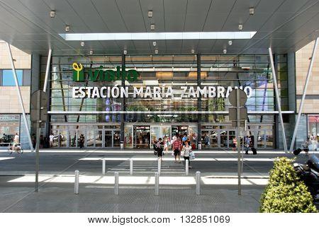 MALAGA, SPAIN - JULY 11, 2008 - Entrance to the Zambrano railway station (Estacion de Maria Zambrano) Malaga Malaga Province Andalucia Spain Western Europe, July 11, 2008.
