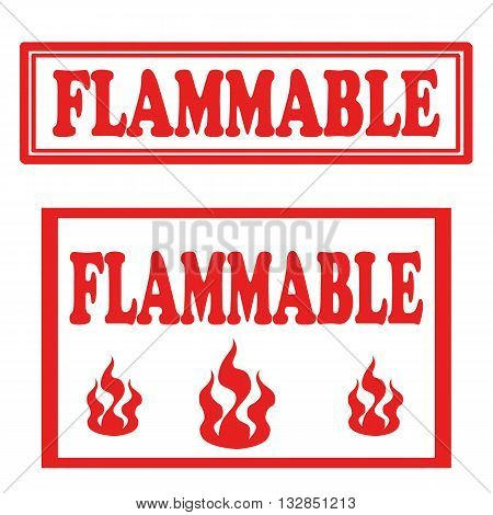 Set of stamps with text Flammable,vector illustration