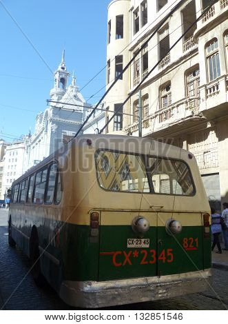 Valparaiso, Chile - 02 March 2012: old trolleybus driving in the streets of Valparaiso