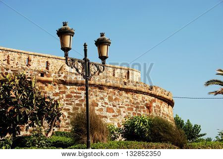 View of the castle with a traditional streetlight in the foreground Duquesa Malaga Province Andalucia Spain Western Europe.