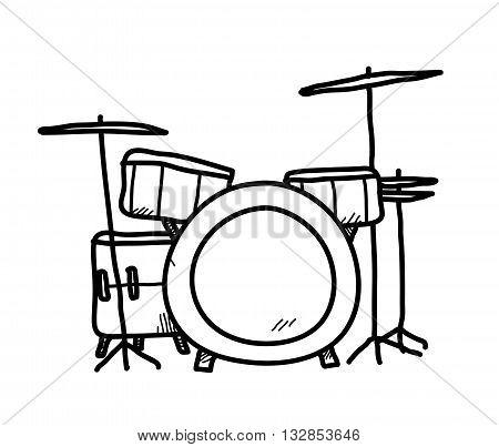 Drum Set Doodle, a hand drawn vector doodle illustration of a drum set.