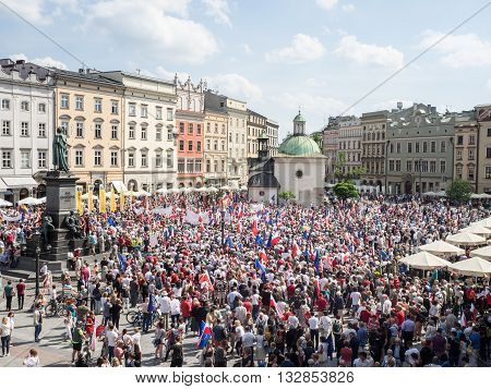 KRAKOW POLAND - JUNE 4 2016: Demonstration and March of Liberty organized by KOD in Cracow Poland on the anniversary of the first free election in 1989 after the overthrowing of communism in Poland.