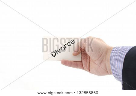 Divorce text concept isolated over white background
