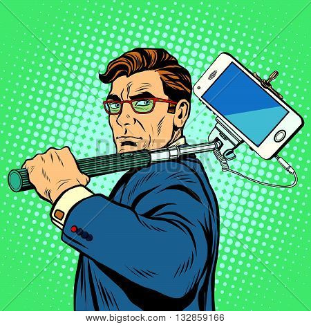 Selfie man blogger smartphone pop art retro vector. Photography gadgets selfie stick
