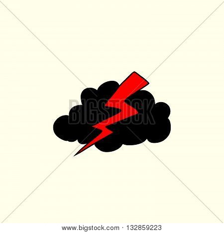 Thunderstorm lightning weather icon pop art retro vector. Rain cloud storm weather forecast
