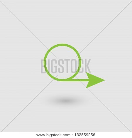 Green circular arrow  Arrow emerging from a circle of green color on a gray background with shadow