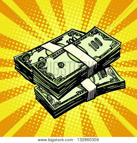 Money Finance dollars pop art retro vector. Retro money