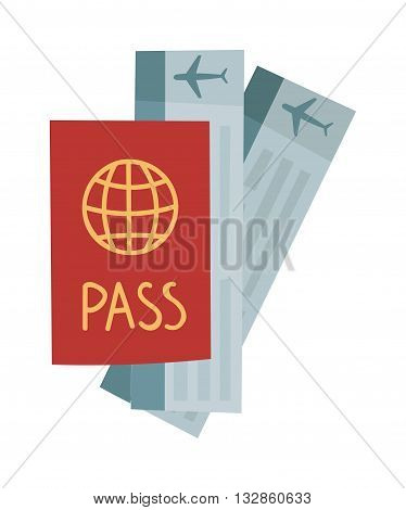 Vector illustration passport with tickets. Holiday passport and tickets, vocation passport and tickets concept. Passport and tickets travel, tourism business vacation, trip pass tourist flight symbol.