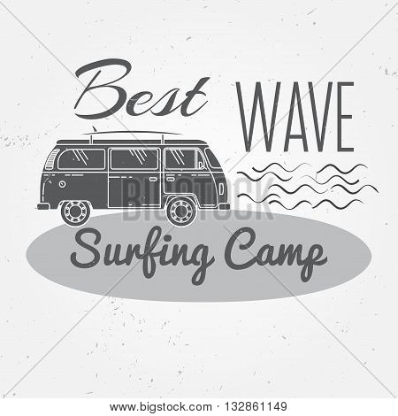 Surfing Camp Concept Vector Summer Surfing Retro Badge. Surfing Camp Emblem , Rv Outdoors Banner, Vi