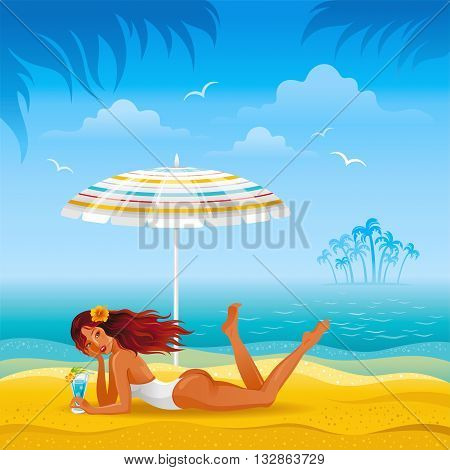 Beach background with beautiful tan girl lazing under the umbrella