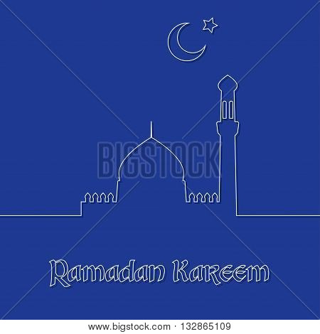 Ramadan Kareem vector background with outline white crescent, mosque and star. Ramadan Kareem greeting card. Stock vector.