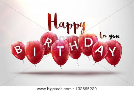 Happy birthday balloons celebration. Birthday party decoration design. Festive baloons lettering template.