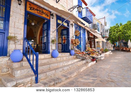 HYDRA ISLAND GREECE, MAY 27 2016: traditional taverns and shops at Hydra island Saronic gulf Greece.