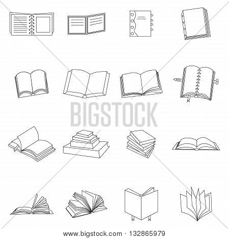 Book thin icons set isolated on white background
