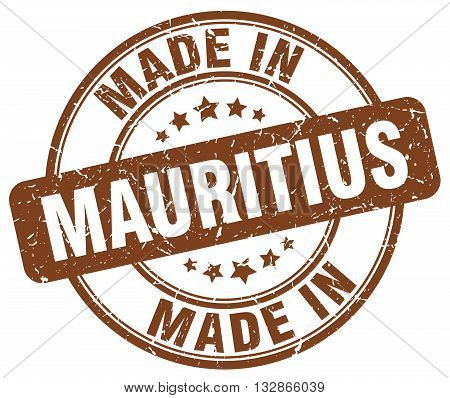 Made In Mauritius Brown Round Vintage Stamp.mauritius Stamp.mauritius Seal.mauritius Tag.mauritius.m