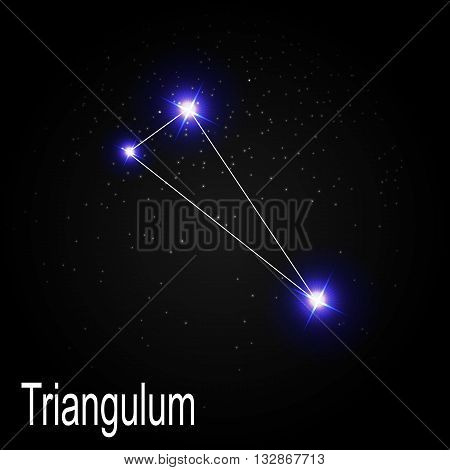 Triangulum Constellation with Beautiful Bright Stars on the Background of Cosmic Sky Vector Illustration EPS10