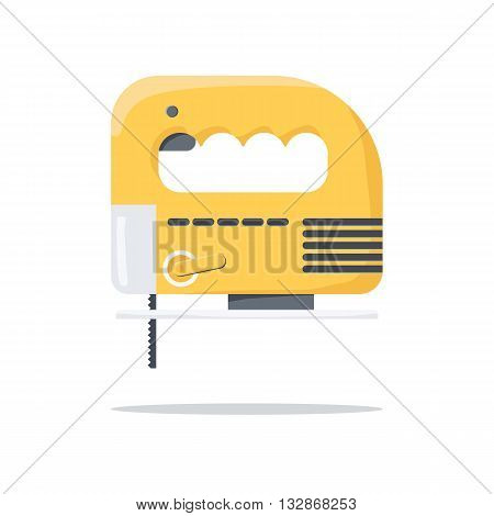 Electric carpentry jig saw tool. Flat vector illustration.