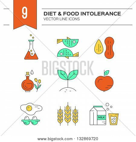 Food intolerance icons including gluten seafood lactose soy gmo eggs nuts. Food allergens. Line style vector collection.