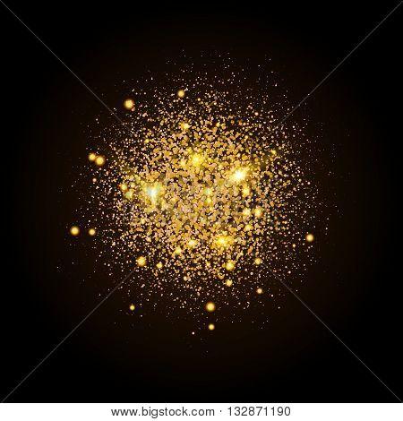 Gold shiny particles shape. Sparkling background. Stardust explosion on black background. Vector festive illustration.