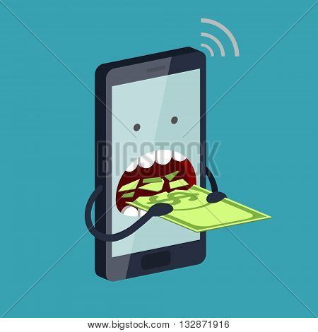 Funny stylized phone is eating a banknote with dollar sign. Expensive payment of communication services and unremunerative tariff concept