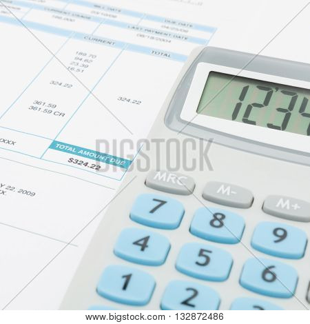 Unpaid Utility Bill And Calculator Over It Series