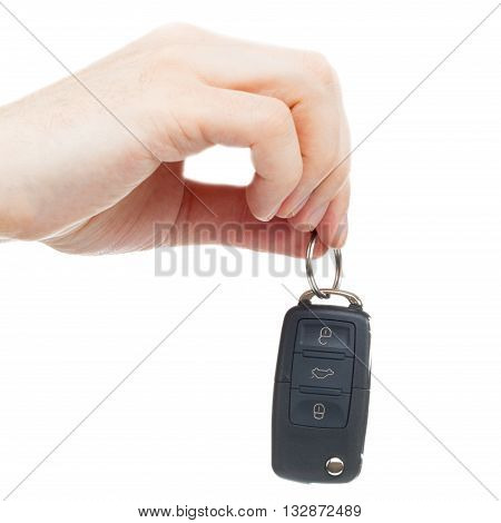 Male Hand Giving Car Keys - Studio Shot Over White Background