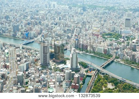 Japan Tokyo Cityscape, Commercial And Residential Building, Road