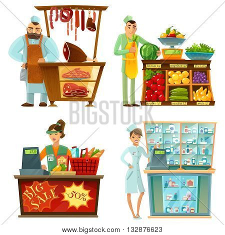 Traditional counter service shops sellers at work 4 cartoon compositions icons with butcher and grocery store vector illustration poster