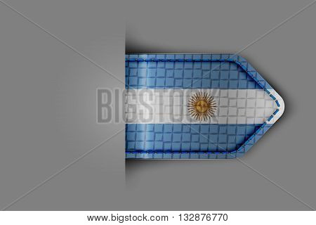 Flag of Argentina in the form of a glossy textured label or bookmark. Vector illustration.