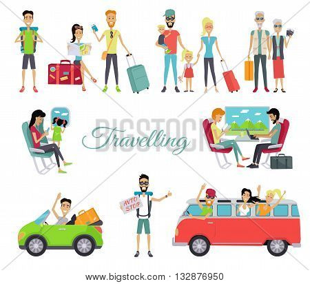 Travelling autostop flat. Set of character people. Happy young man standing with a sign hitchhiking and raised his thumb up. Vintage van with cheerful people in the windows. Vectpr illustration