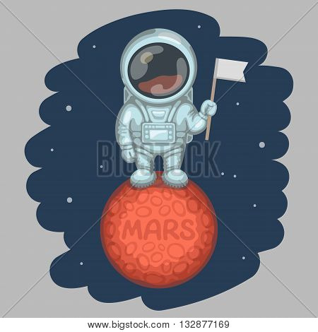 Astronaut dressed in white spacesuit is standing on red planet and holding in his hand small flag craters and MARS inscription on planet surface. Expedition to Mars and space exploration concept