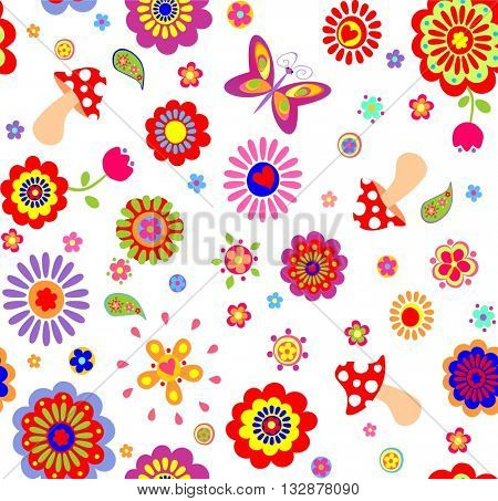Childish wallpaper with colorful abstract flowers and mushrooms