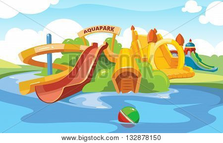 Water slide in an aquapark. Vector illustration. Cartoon pictures of water slide and inflatable castles on playground.