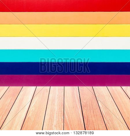 colorful wall texture with plank wood floor abstract for background