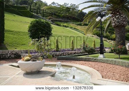 Beautiful view of the Bahai Public Gardens in Haifa, Israel