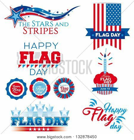 A collection of nine banners on Flag Day