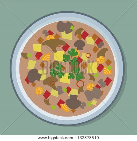 Fresh vegetable soup plate with noodles and vegetable vegetarian soup plate. Vegetable lunch cuisine healthy dish soup plate and soup plate diet hot appetizer fresh gourmet cream soup.