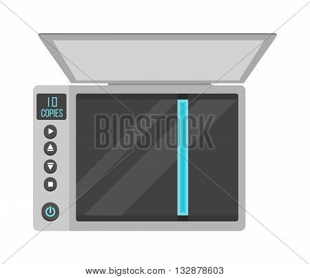 Open office scanner and illustration on white office scanner. Scan document paper copy print office scanner and office scanner print equipment business copier. Modern fax digital device electronics.