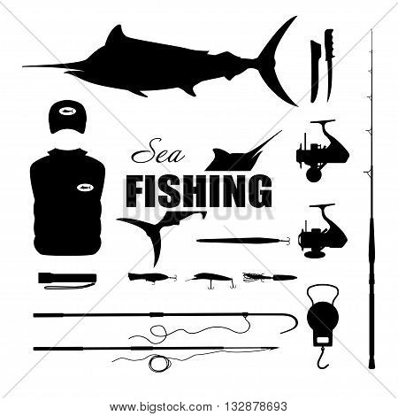 Set items fisherman . Sea fishing . Collection of silhouettes of fishing equipment. Vector illustration
