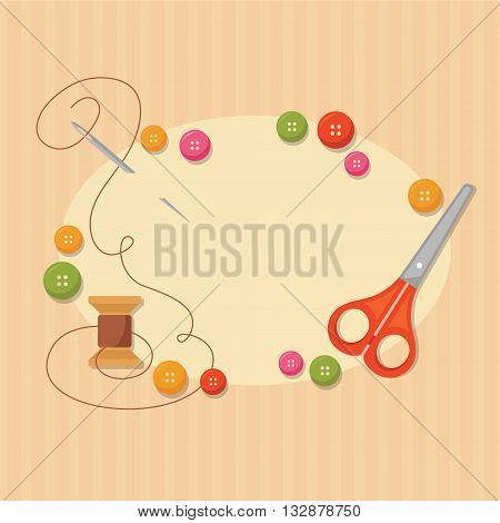 Frame with sewing items: scissors spool needle with thread and colored buttons. Handmade concept background