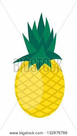 Pineapple isolated on white tropical healthy fruit, sweet ananas tasty fruit vector. Ananas pineapple tropical fruit and ananas pineapple healthy fruit food. Tropical vitamin yellow pineapple fruit