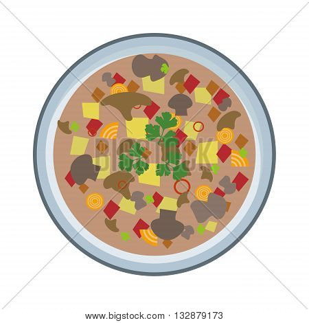 Soup vector on white background, top view. Vegetarian soup plate. Vegan natural soup concept, no meat. Soup plate isolated
