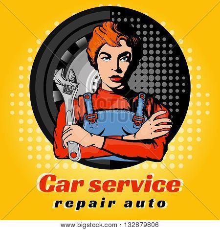Car servise beautiful woman pop art vector illustration
