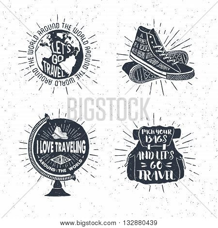 Hand drawn textured vintage labels retro badges set with globe sneakers bag and lettering vector illustrations.