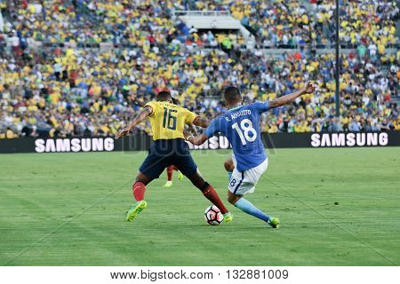 Antonio Valencia 16 And Renato Augusto 18 Fighting For The Ball During Copa America Centenario