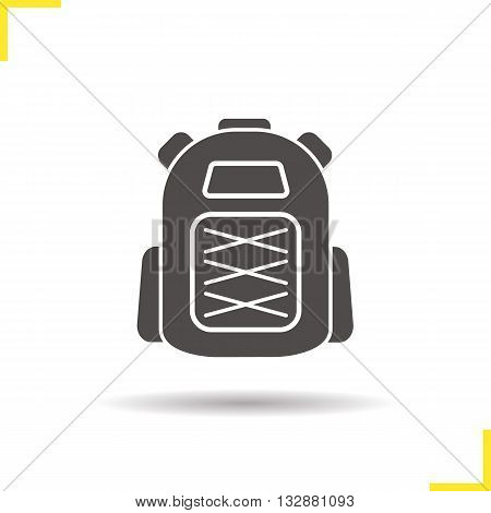 Backpack icon. Drop shadow backpack icon. Tourist equipment. Student schoolbag. Isolated backpack black illustration. Logo concept. Vector silhouette backpack symbol
